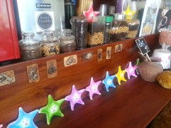 Coffee shop stars and coffee beans