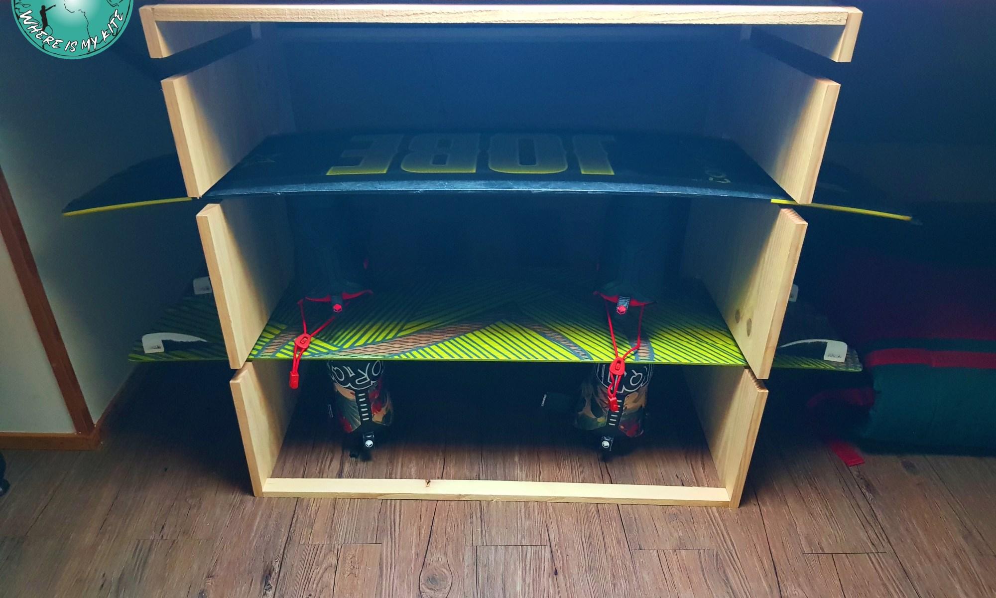 Construction d'un meuble de rangement pour planche de wakeboard, kitesurf, twintip, surf et foil