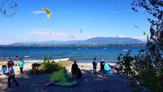 Spote de kite de Versoix, plage de la Bécassine, Genève, Suisse