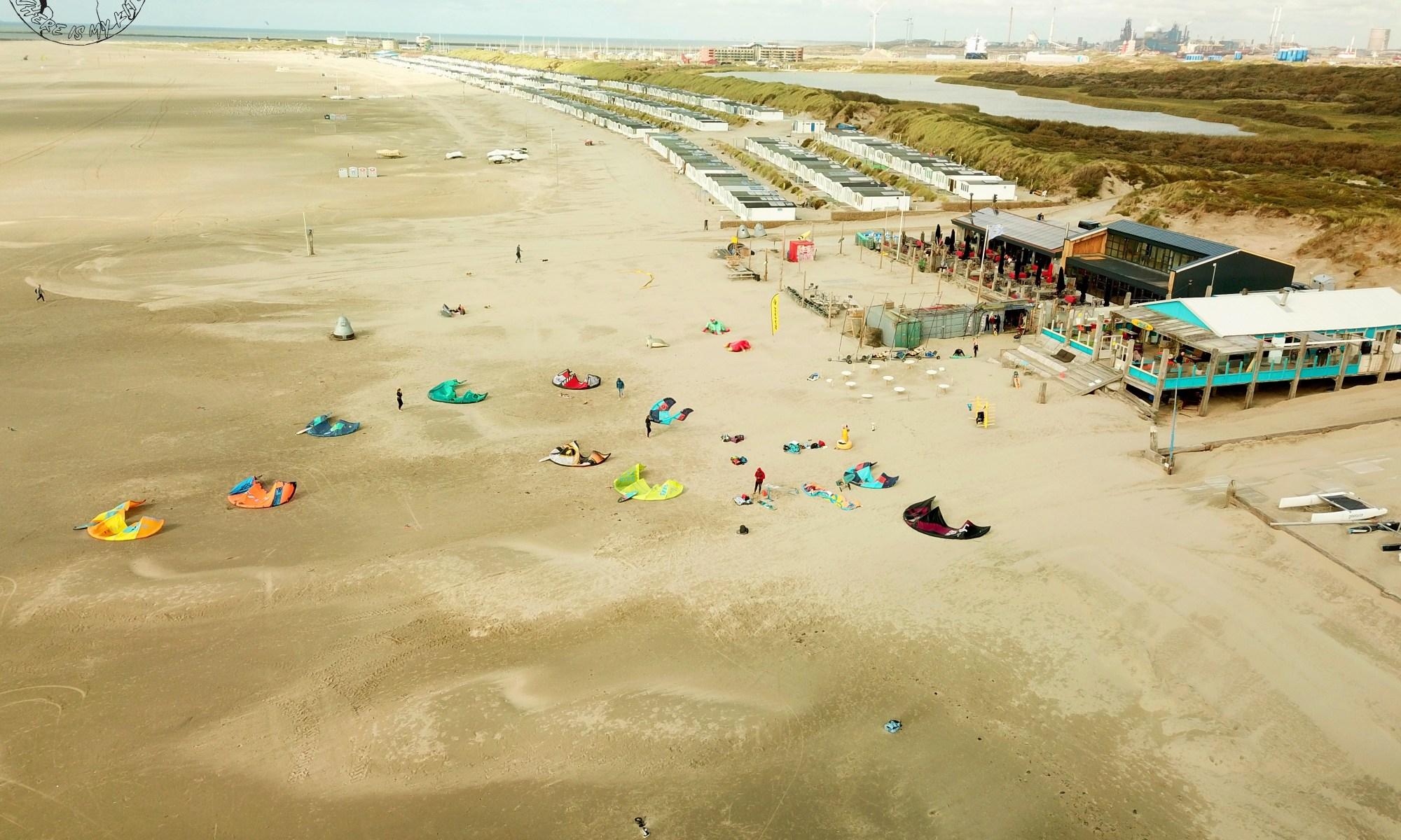 Spot de kitesurf en Hollande à UIjmuiden, vantrip avec la kite family, zone de décollage