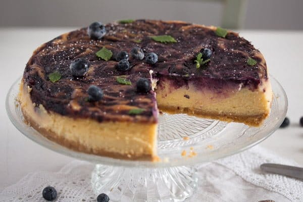 blueberry cheesecake 8 Baked Blueberry Cheesecake with Lemon Curd