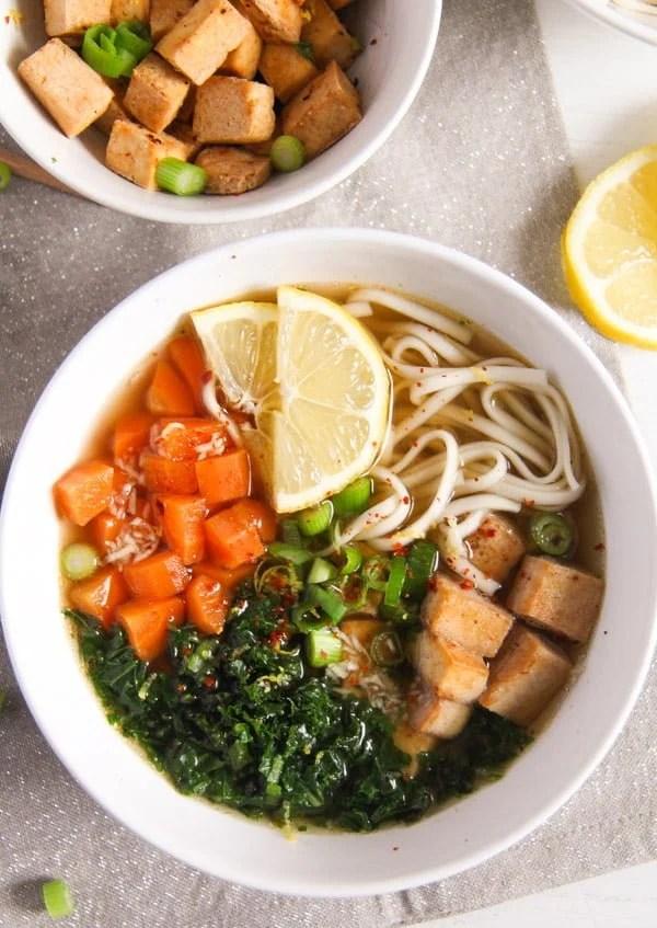 tofu noodles soup 2 Soba Noodles Tofu Soup with Limes, Carrots and Kale