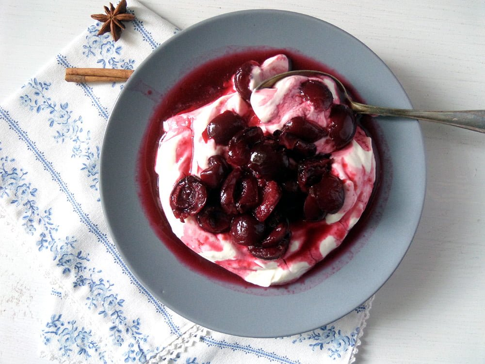 Roasted Cherries With Strained Yogurt