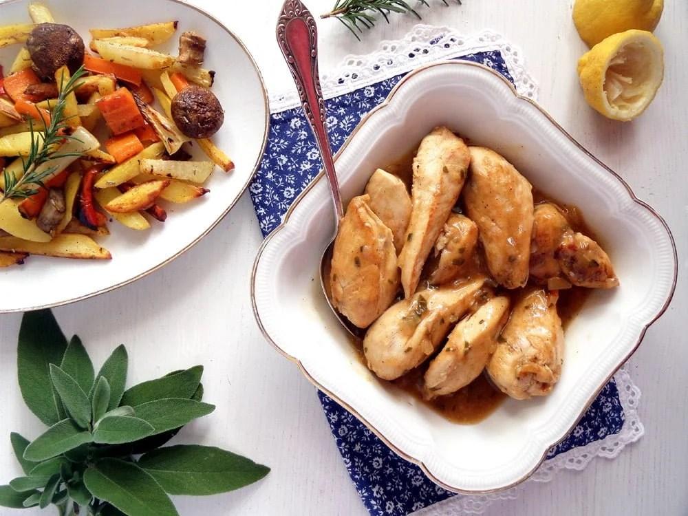 lemon chicken baked vegetab Italian Skillet Lemon Chicken with Herbs