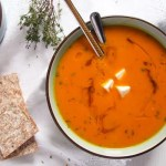 Butternut Squash and Orange Soup With Feta Topping