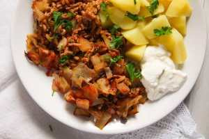 %name Stuffed Cabbage Casserole with Bacon and Ground Pork