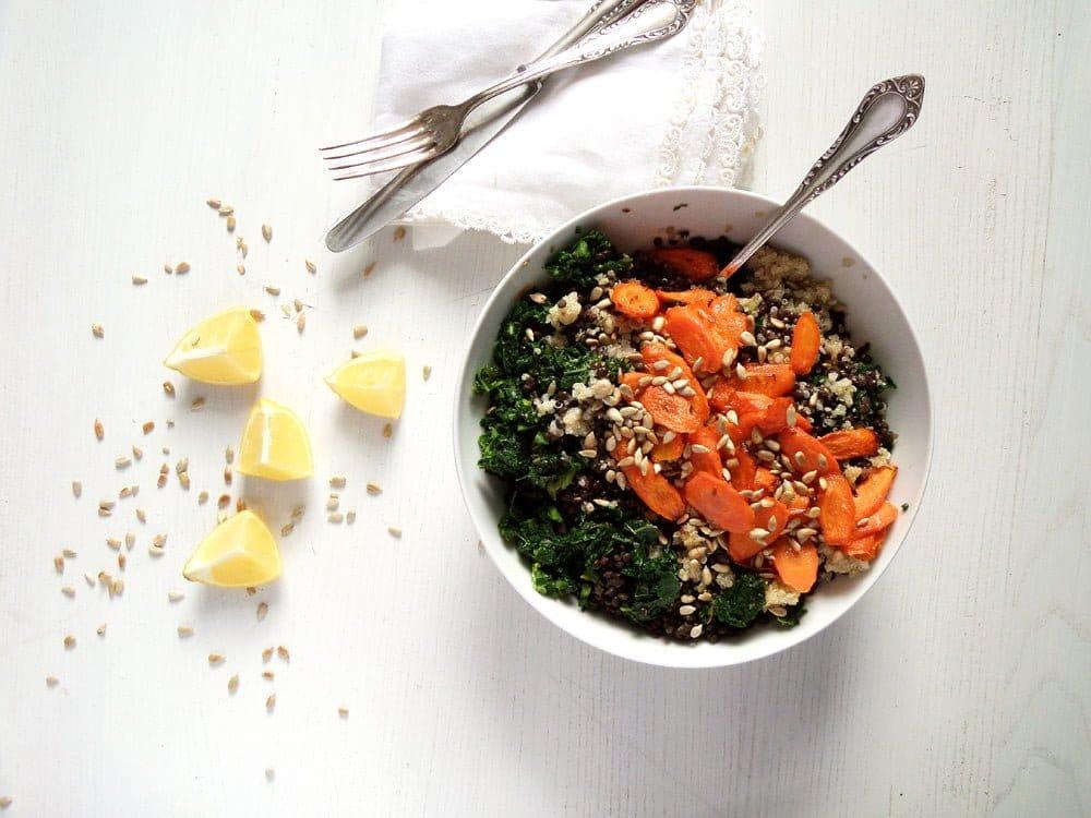 lentil kale salad Vegan Lentil Quinoa Bowl with Kale, Carrots and Sunflower Seeds