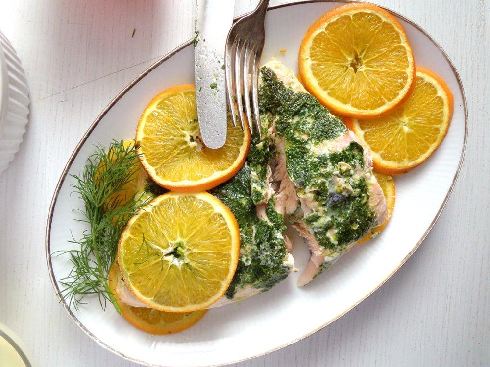 orange salmon dill Orange Mustard Salmon with Dill and Orange Rice