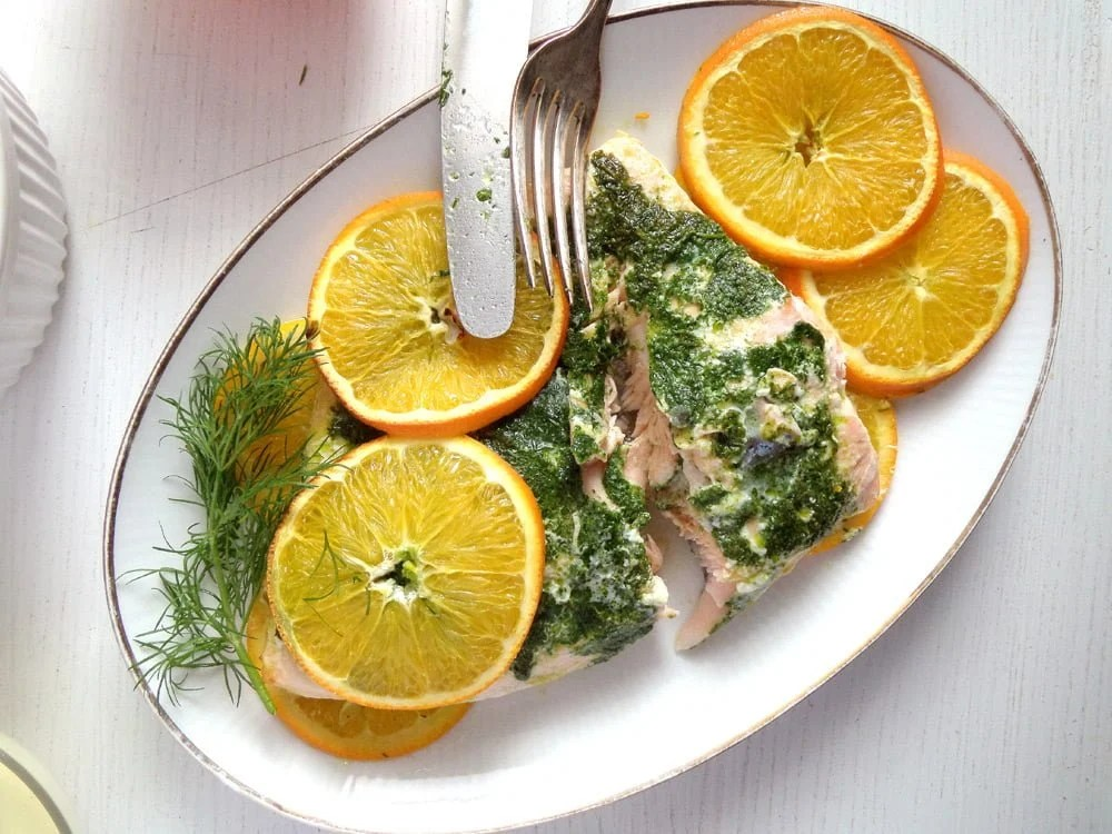 orange salmon dill Oven Baked Pike with Vegetables and White Wine – Romanian Recipe