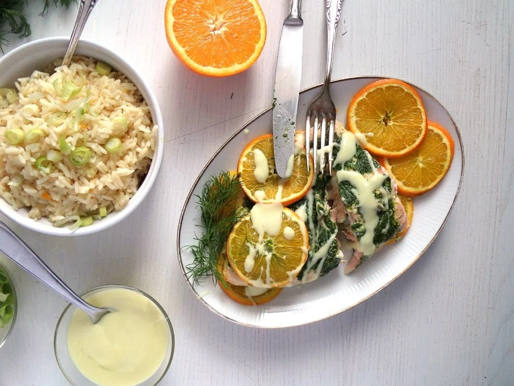 orange salmon sauce Orange Mustard Salmon with Dill and Orange Rice