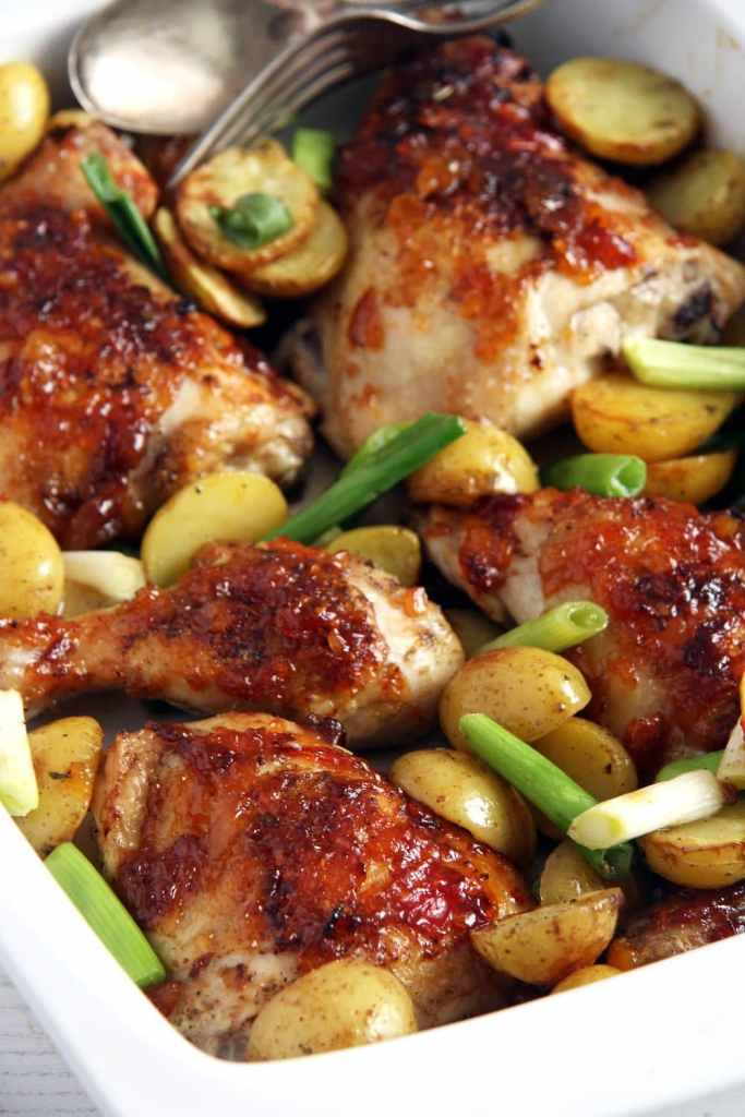 chicken green onions 683x1024 Sticky Roasted Chicken Legs with Green Onions and Mango Chutney