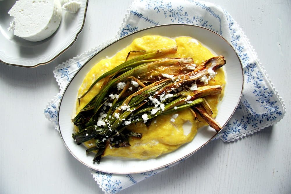 spring onions polenta Roasted Green Onions on Creamy Polenta with Goats Cheese
