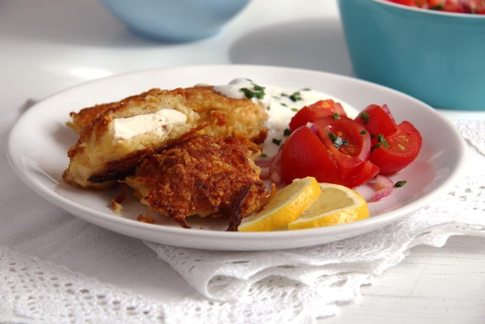 schnitzel potato Chicken Schnitzel with Potato Parmesan Crust, Yogurt Dip and Tomato Salad