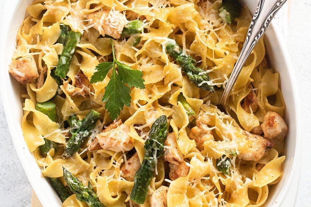 asparagus chicken pasta Vegan Soy Granules Sauce for Pasta