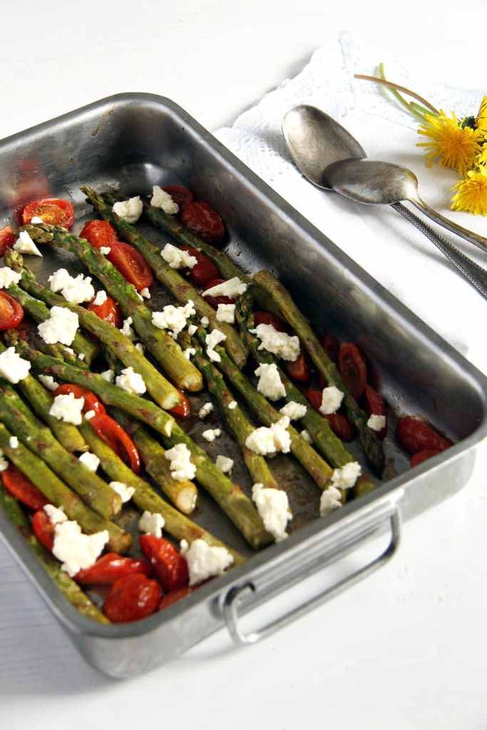 asparagus roasted tomato 683x1024 Basic Roasted Green Asparagus with Tomatoes and Feta
