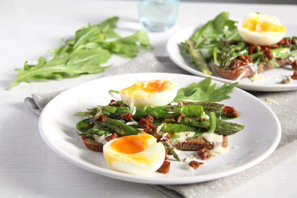asparagus sandwich arugula Asparagus Soft Boiled Egg Toast with Parmesan and Capers