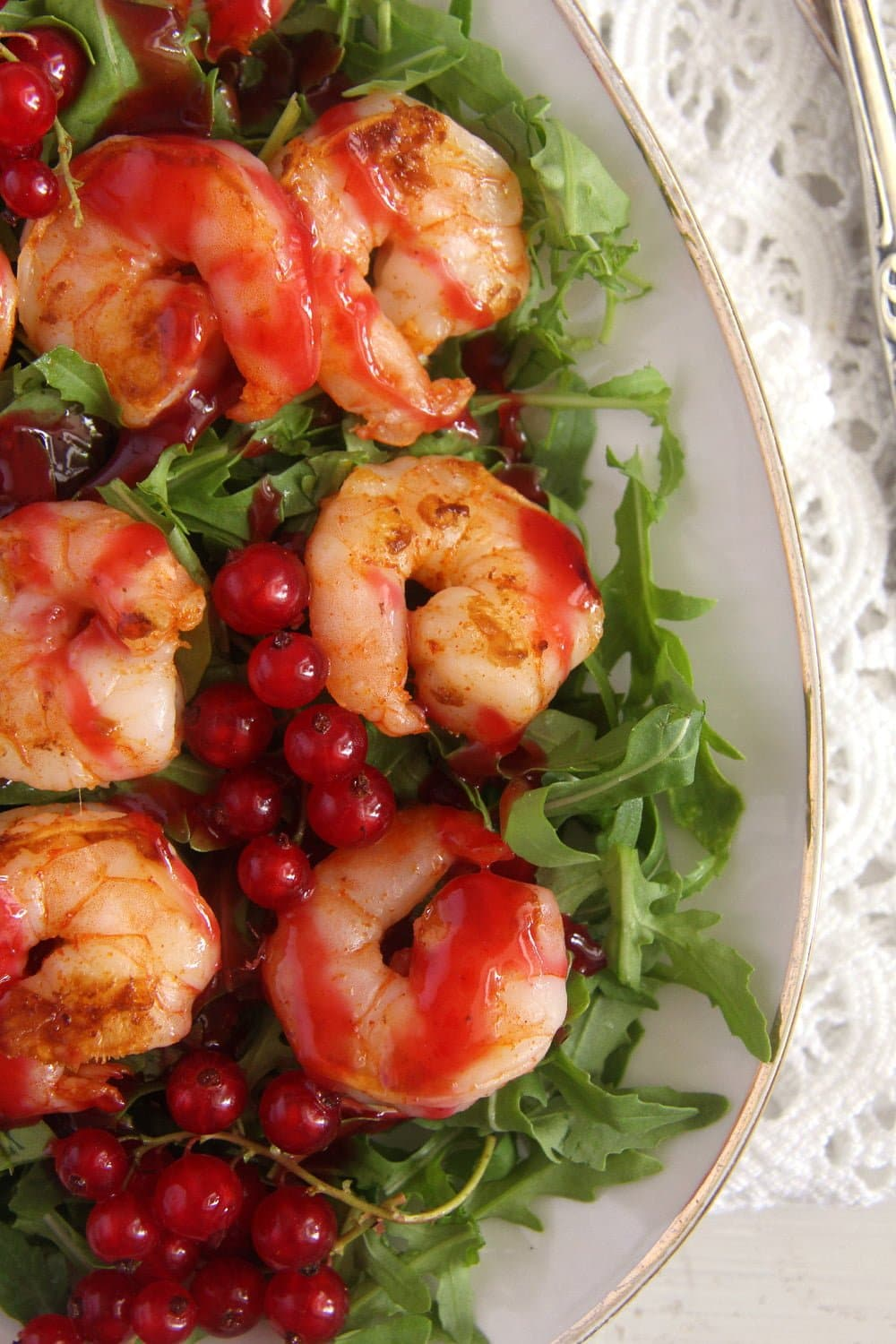 red currant sauce shrimps Tiger Prawns with Red Currant Sauce and Rocket