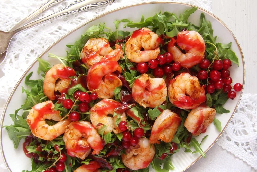 red currant shrimp Tiger Prawns with Red Currant Sauce and Rocket