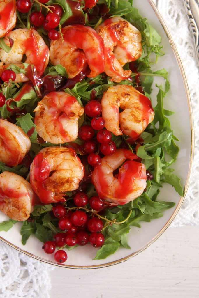 red currant shrimps 683x1024 Tiger Prawns with Red Currant Sauce and Rocket