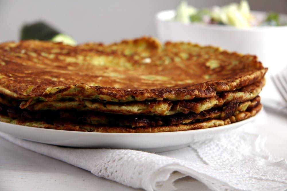 zucchini pancakes feta Zucchini Feta Pancakes with Herbs