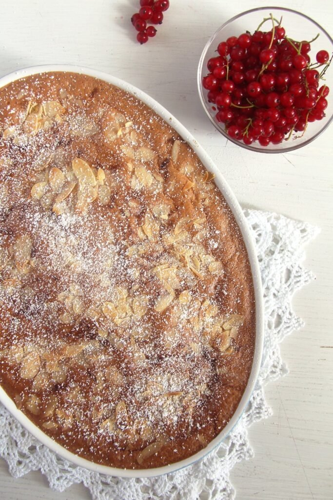 red currants cake 683x1024 Easy Red Currant Casserole Cake with Almonds