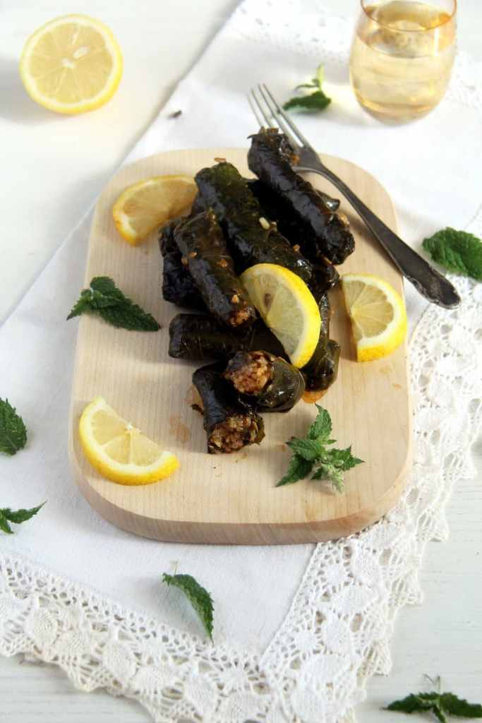 grape leaves 683x1024 Syrian Stuffed Grape Leaves with Rice, Garlic and Herbs