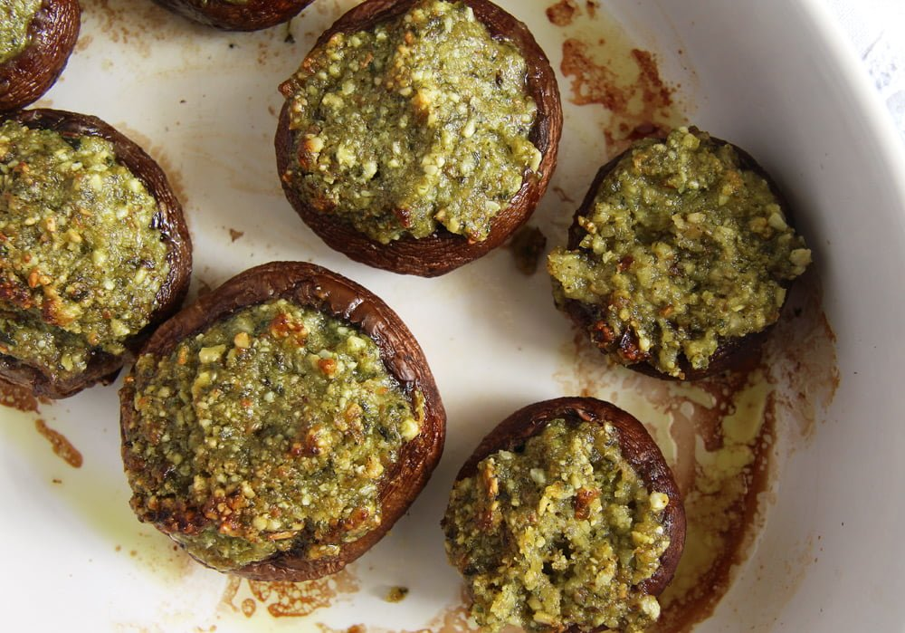 stuffed mushrooms herb Mushrooms with Herb Butter and Almond Filling