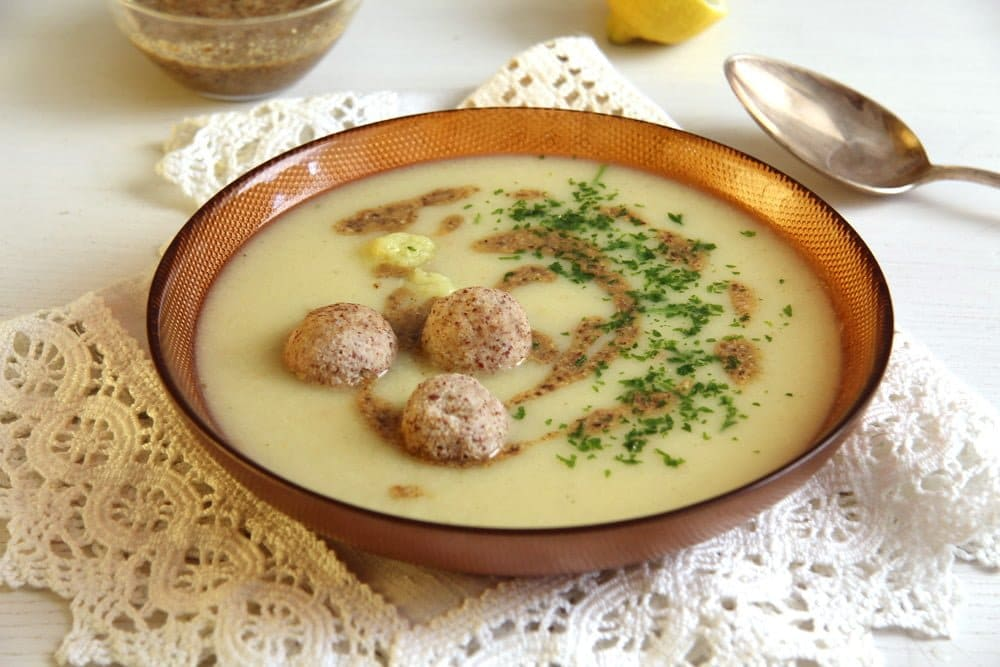 cauliflower soup almonds Cauliflower Soup with Almond Balls and Coriander Cumin Dukkah