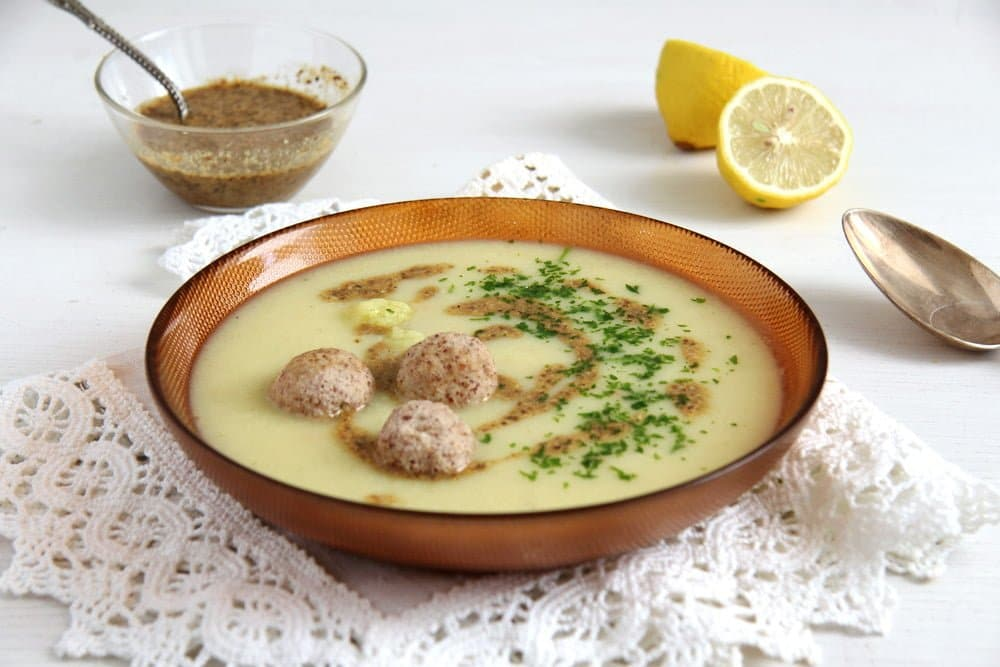 cauliflower soup Cauliflower Soup with Almond Balls and Coriander Cumin Dukkah