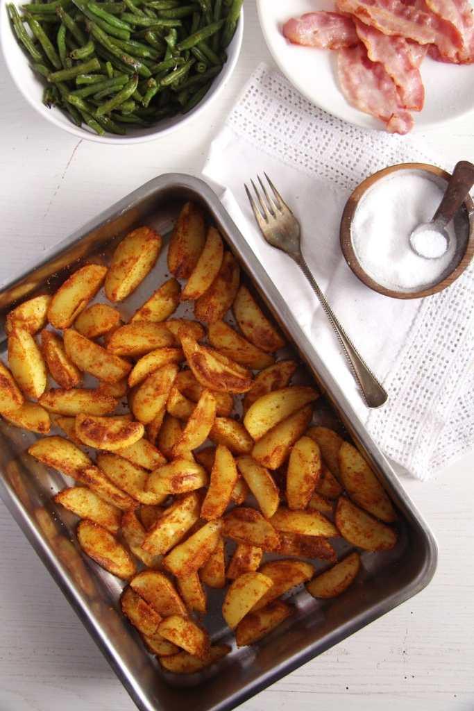 cornmeal potatoes 683x1024 Crispy Baked Cornmeal Potatoes with Paprika