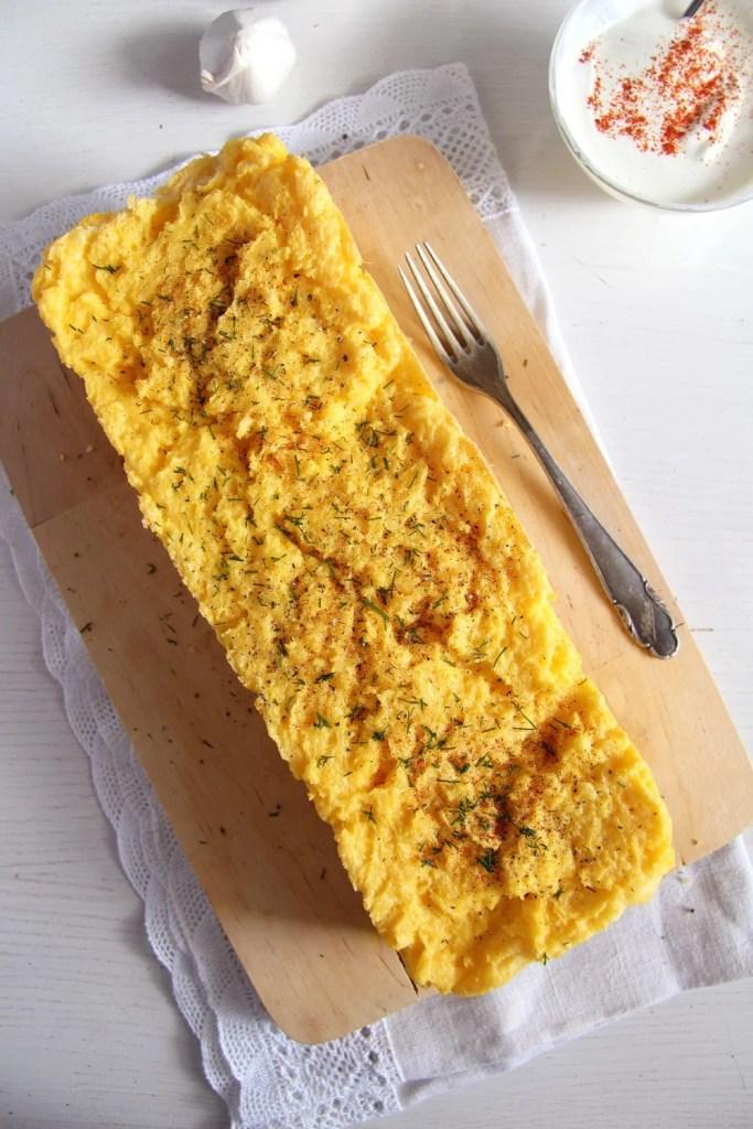 polenta souffle garlic sauc 683x1024 Romanian Polenta Souffle with Cheese and Garlic Sauce