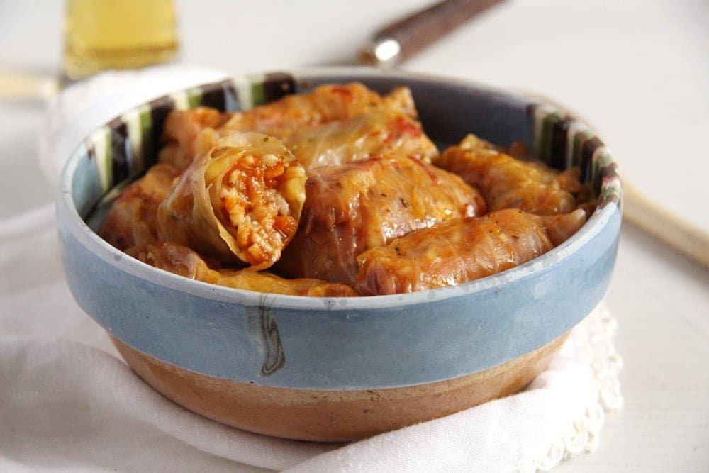 cabbage rolls vegan Vegan Rice Cabbage Rolls with Sauerkraut