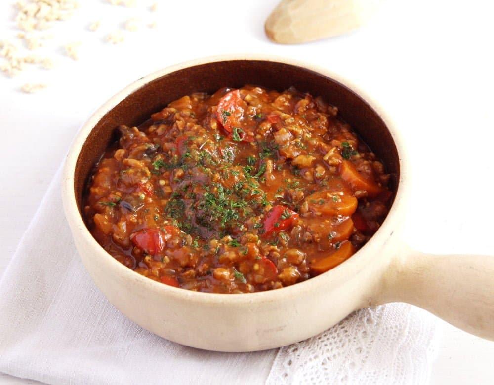 soy goulash eggplants Vegan Soy Granules Sauce for Pasta
