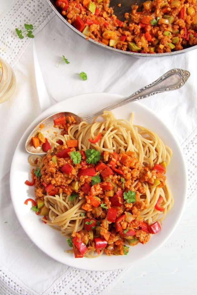 soy granules pasta 683x1024 Vegan Soy Granules Sauce for Pasta