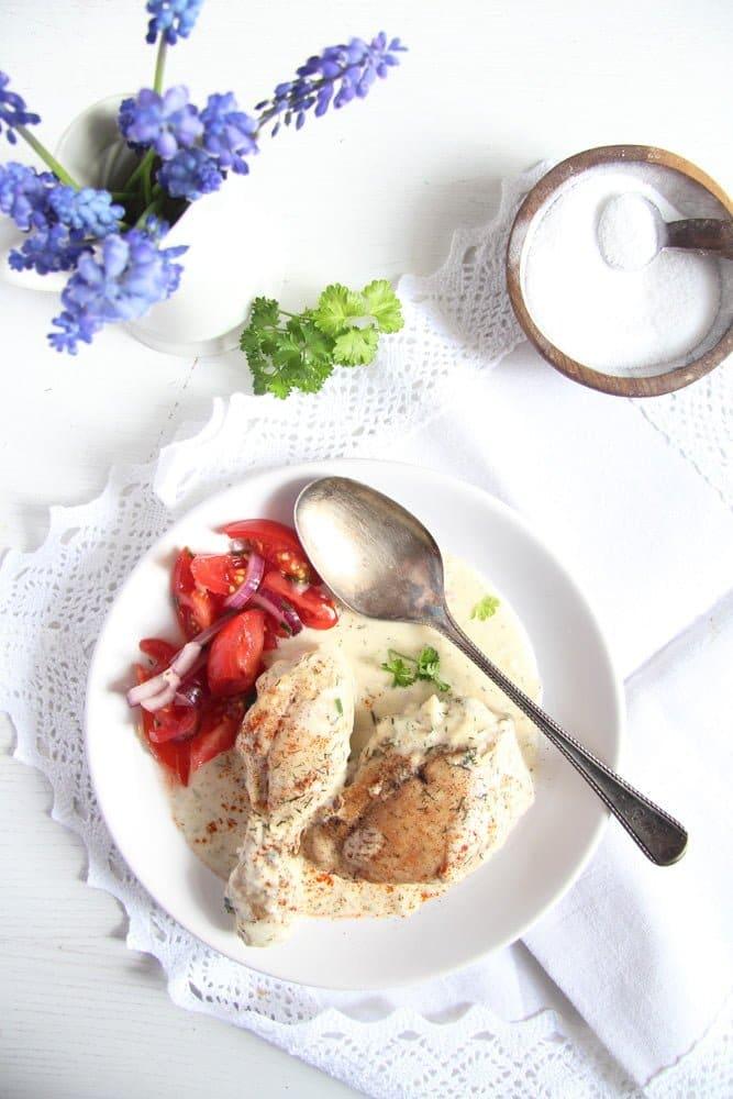 chicken cream Chicken in Cream Sauce   Romanian Recipe