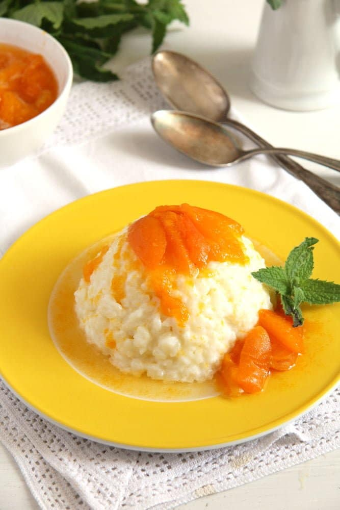 rice apricot Rice Pudding with Homemade Apricot Sauce