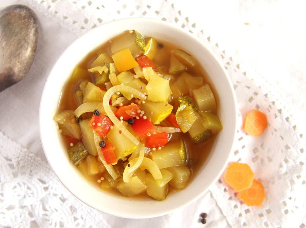 zucchini Sweet and Sour Zucchini, Pepper and Onion Pickles