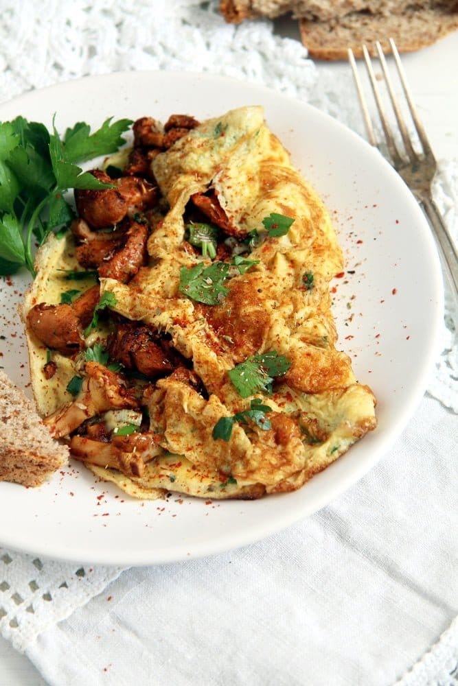 chanterelle omelet mushroom Easy Chanterelle Omelet with Thyme and Rosemary