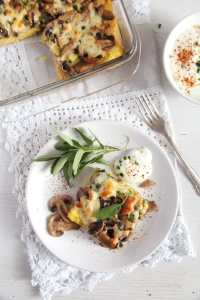%name Mushroom Polenta Casserole with Cheese and Sage