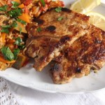 pork chops with rice and vegetables