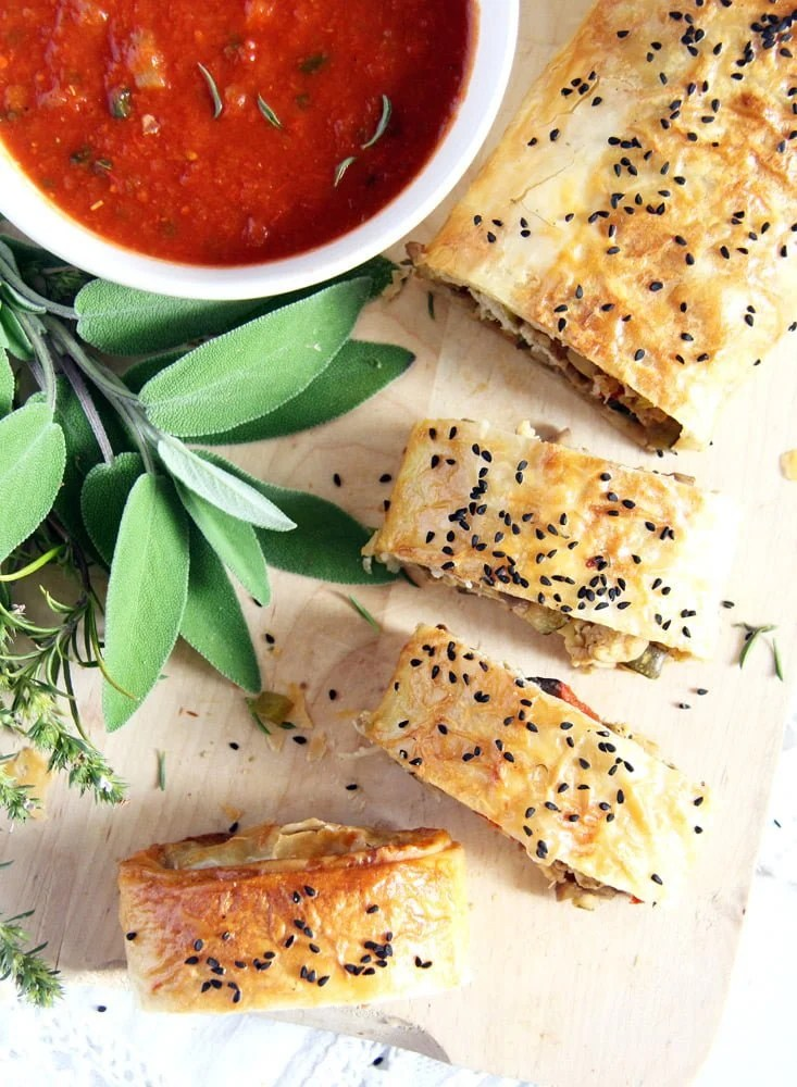yufka roll turkey Yufka or Filo Rolls with Chestnuts, Leftover Turkey and Herbs