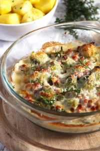 %name Easy Brussels Sprouts Bake with Bacon and Cheese Sauce