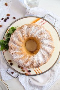 %name Bundt Cake with Leftover Egg Whites, Raisins and Almonds