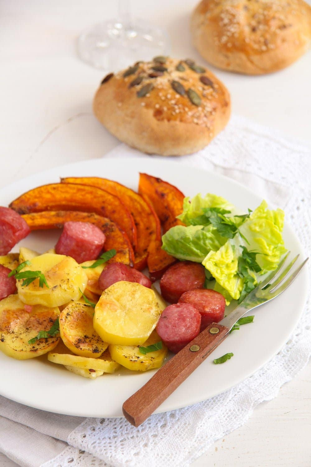 pumpkin potato sausage 2 Roasted Potatoes, Pumpkin and Sausage Sheet Pan Dinner