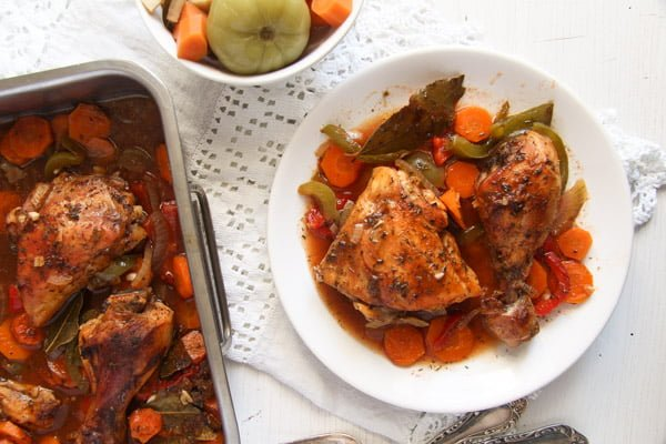Oven Roasted Chicken Legs with Garlic and Vegetables