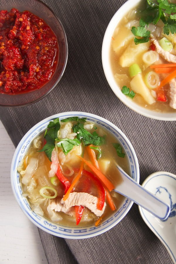 chinese soup 1 Healthy Potato and Turkey Soup with Napa Cabbage