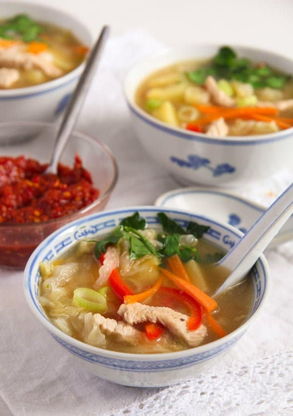 chinese soup 3 Healthy Potato and Turkey Soup with Napa Cabbage