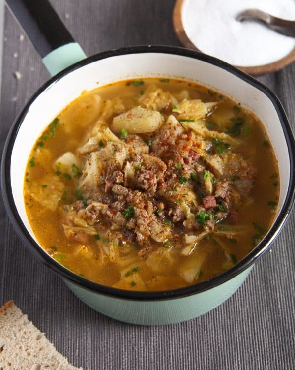 savoy cabbage soup 1 von 5 German Savoy Cabbage Soup with Ground Meat and Potatoes