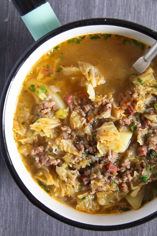 savoy cabbage soup 3 von 5 German Savoy Cabbage Soup with Ground Meat and Potatoes