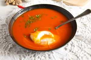 %name Spicy Tomato Ginger Soup with Poached Eggs